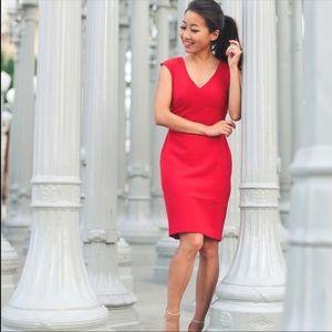 striking red career to dinner dress
